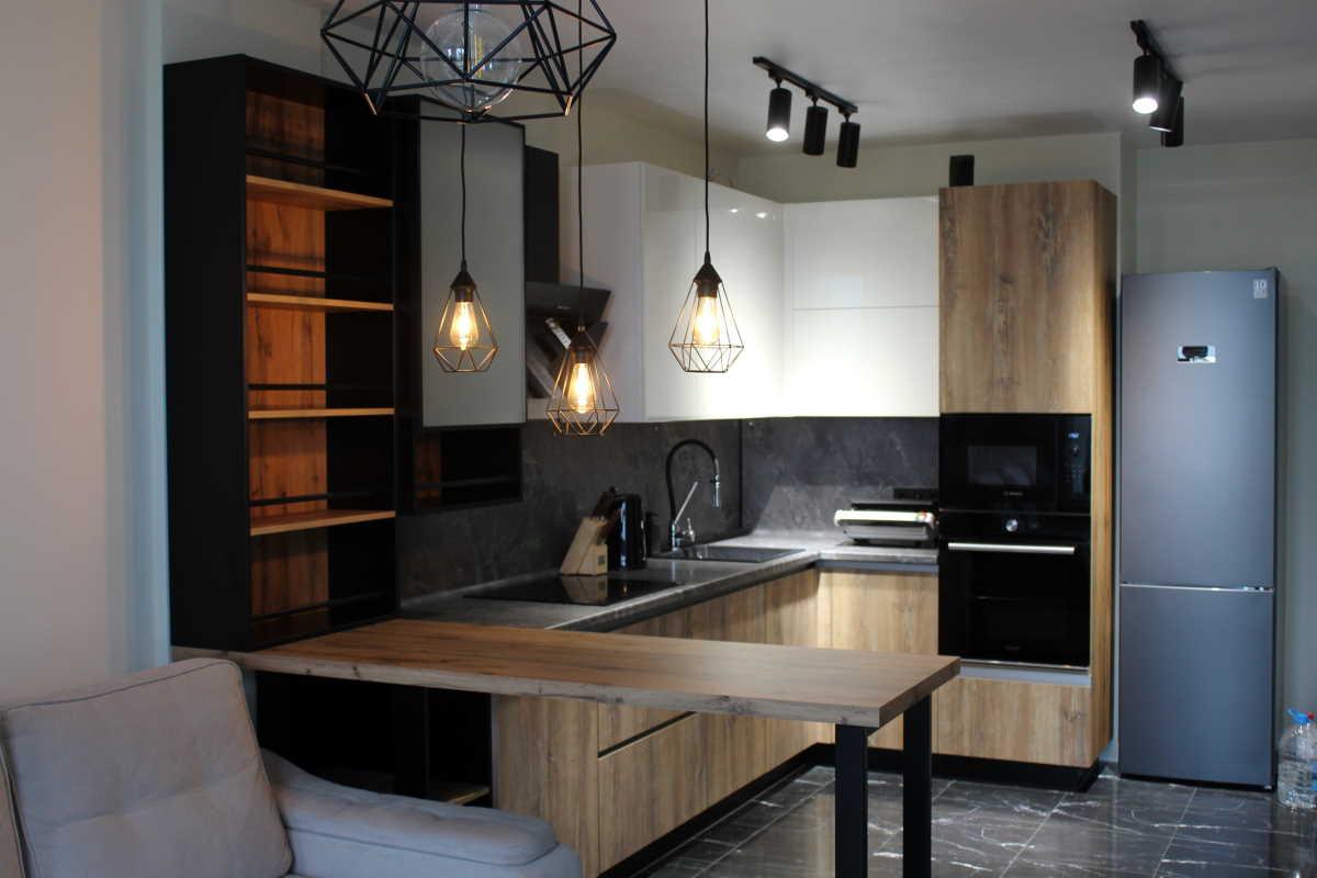 кухня на заказ в стиле лофт в нижнем новгороде